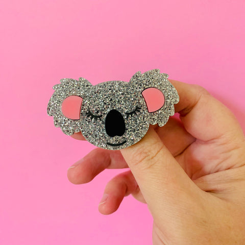 BROOCH - Kimmy Koala - (pastel pink, silver glitter, black acrylic with hand painted detail)