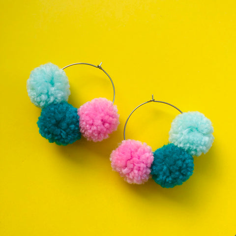 Pom Pom Hoops - Francis Tripple (teal, mint + pink)
