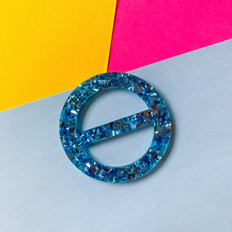 New Wave Tee Buckle - Size Regular (Blue glitz acrylic)