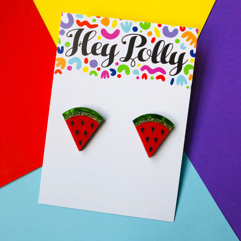 Studs - Watermelon - Acrylic (Black detail, forest green marble, green glitter + red acrylic)