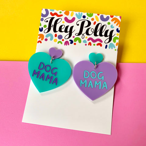 DANGLE - Dog Mama Hearts (pastel - mint + purple acrylic)