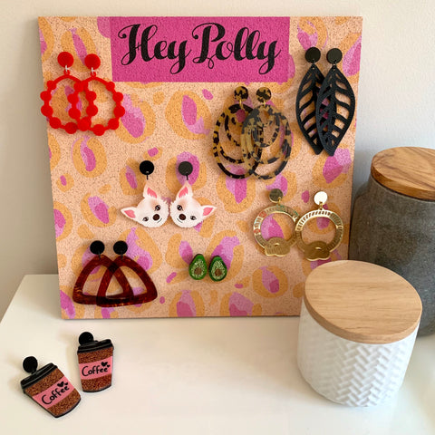 Earring Display Board - Cream + pastel pink