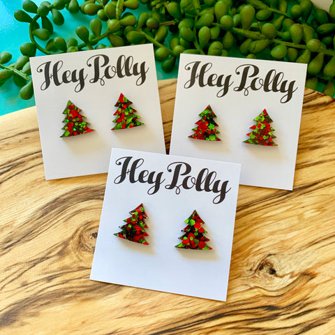 Studs - Christmas Trees (red and green Christmas Glitz)