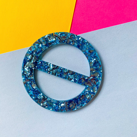 New Wave Tee Buckle - Size Large (Blue Glitz acrylic)