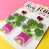 DANGLE - Monstera Rainbow Pot artwork (gloss, Pink mirror acrylic)