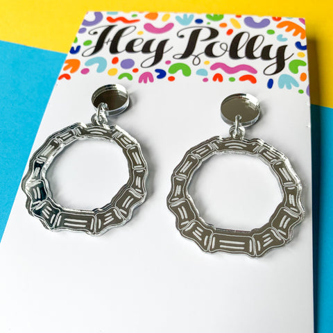 DANGLE - Small Boney Bamboo Hoops (silver mirror acrylic)
