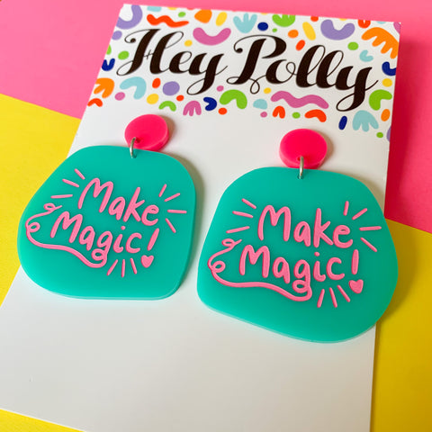 DANGLE - Make Magic (hot pink + mint acrylic)