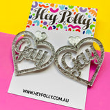 DANGLE - Gay Hearts (silver metallic acrylic)
