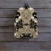 Image of Gold Black Flowers Backpack