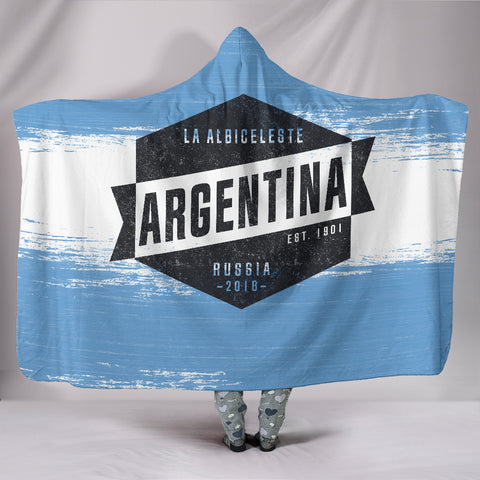 Argentina - Vintage World Cup Russia 2018 Hooded Blanket - Express Shipping