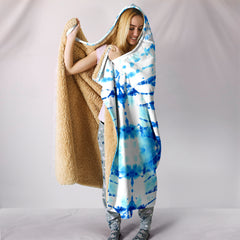 White Indigo Watercolor Pattern Hooded Blanket