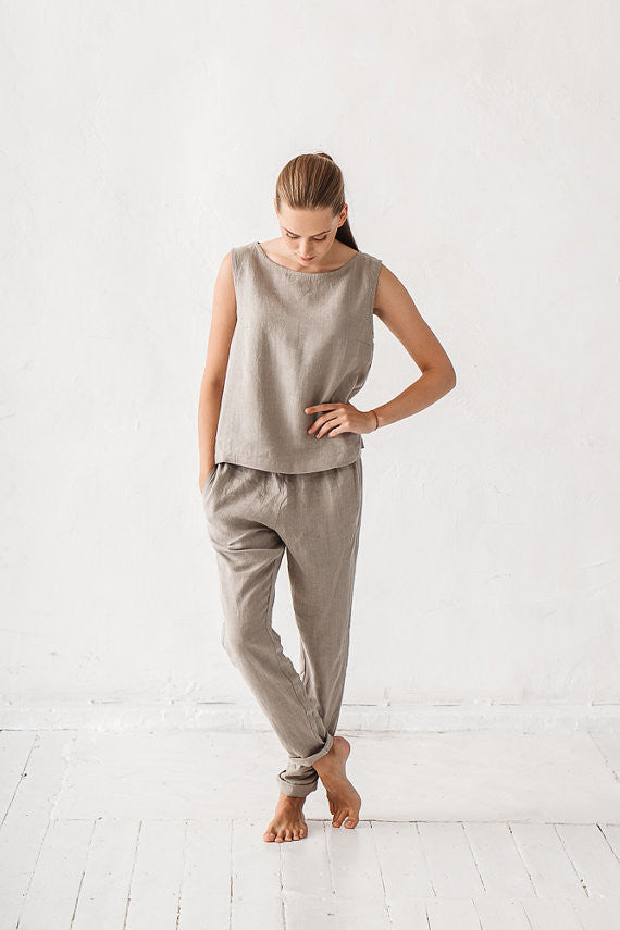 NATURAL LINEN GREY WOMAN PANTS
