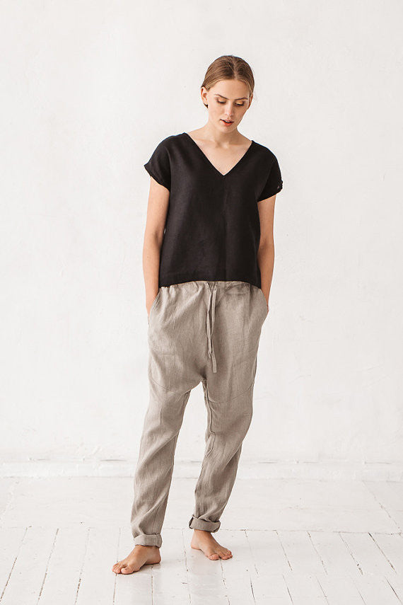LADIES HAREM PANTS NATURAL LINEN