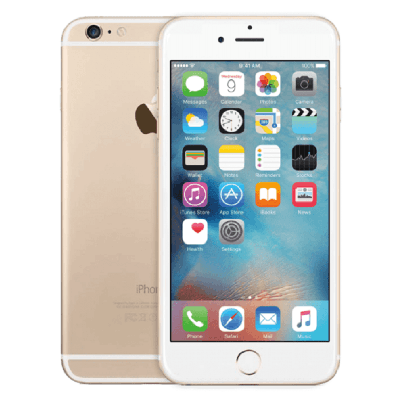 Refurbished Apple IPhone 6 Plus In Gold Front And Rear View