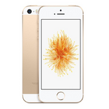 Refurbished Apple iPhone SE in gold front and rear view