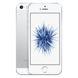 Refurbished Apple iPhone SE in silver front and rear view