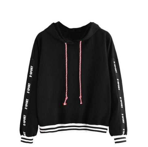 Fashion Women Hoodies Sweatshirts Letters Printed Long Sleeve Oversized Hoodie Sweatshirt Pullover Black truien dames