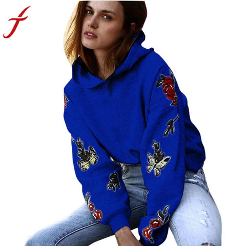 Feitong Winter Sweatshirt Women Hooded Long Sleeve Casual Rose Butterfly Embroidery Hoodie Sweatshirt Pullover Tops hoodies