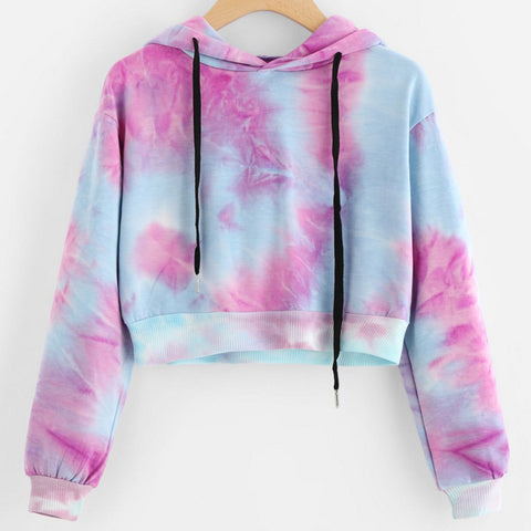 Women's Sexy Printed Long Sleeve Short Sweatshirt Hoodies Tops Blouse