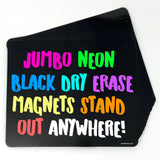 Jumbo Black Neon Whiteboard Magnets - 12 Cards