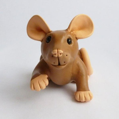 Agouti Brown Mini Rat Sculpture
