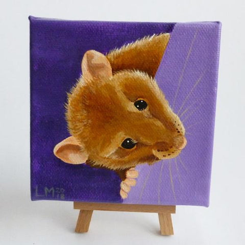 Brown Rat Original Acrylic Painting On Canvas