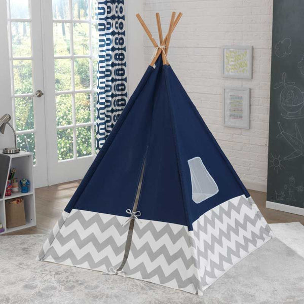 Leketelt/Lavvo - 'Navy Teepee with Grey & White Chevron' - FRIFRAKT!