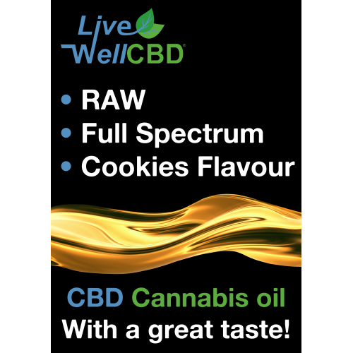 Live Well CBD RAW Cannabis Extract & Hemp Seed Oil Cookie Flavour