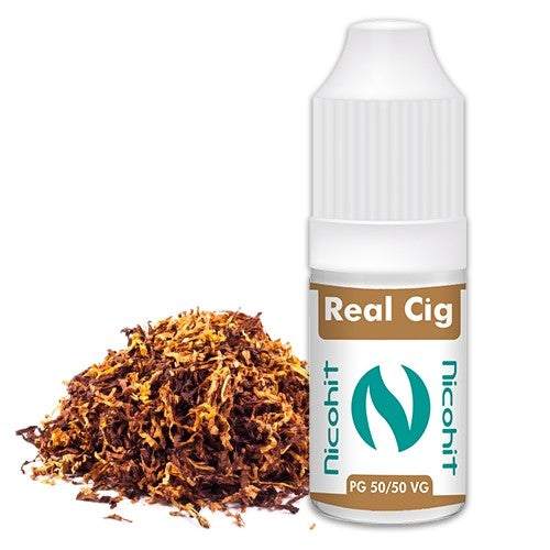 Real Cig 10ml Vaping E-Liquid - Nicohit - 50VG / 50PG
