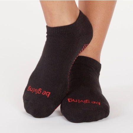 Be Giving Black/ Red Berry StickyBe Grip Socks - Studio To Street Boutique