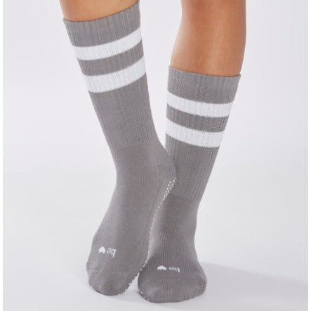 Be ❤️ Dark Grey/White Crew StickyBe Grip Socks - Studio To Street Boutique