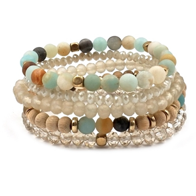 Set of 5 Stackable Stretch Bracelets - Studio To Street Boutique