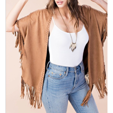 The Suede Fringe Cardigan