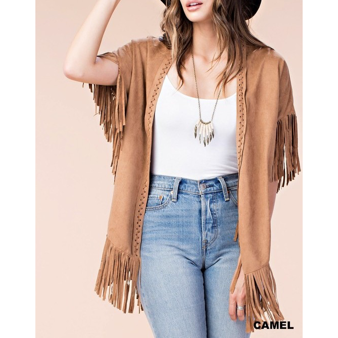 The Suede Fringe Cardigan - Studio To Street Boutique