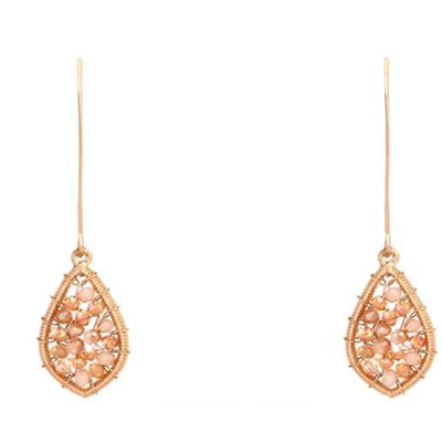 Peach Crystal Drop Earrings - Studio To Street Boutique