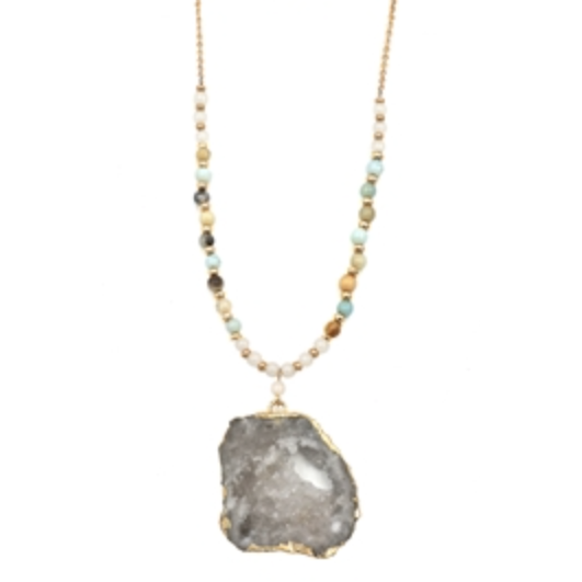 Amazonite Natural Stone Beaded Necklace with Agate Stone - Studio To Street Boutique