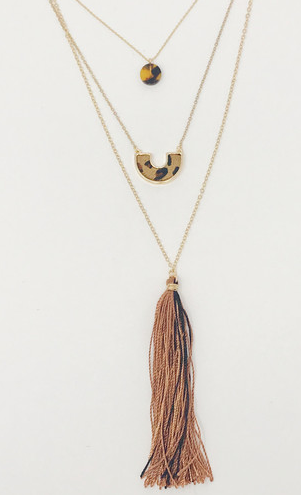 Tortoise and Leopard Layered Necklace