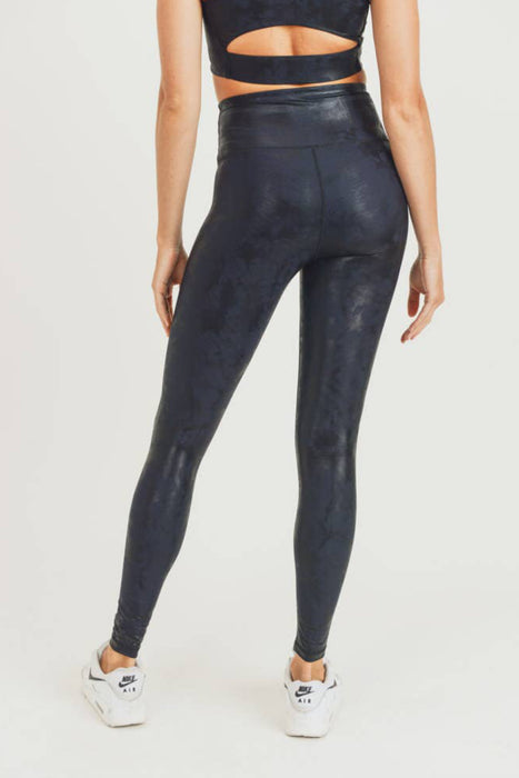 Overlay Metallic Foil Print Highwaist Leggings