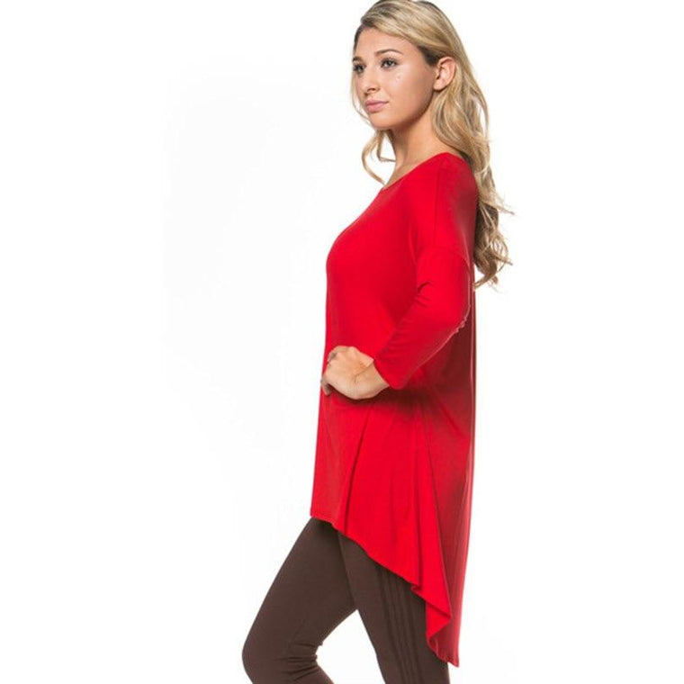 3/4 Sleeve High/Low Hem Avelind Top