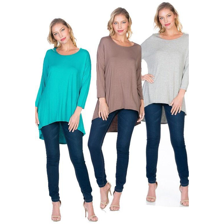 3/4 Sleeve High/Low Hem Avelind Top - Studio To Street Boutique