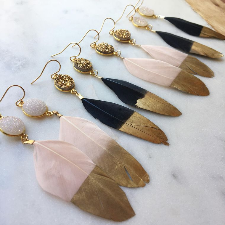 Jewelry Gift, Gold Dipped Feather Earrings, Gold Druzy Earrings, White Druzy, Black Feather Earrings, Statement Earrings, Statement Jewelry