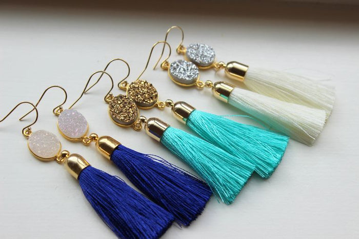 Druzy Jewelry Drusy Earrings, Gold Tassel Earrings Gold Druzy Earrings, Tassel Jewelry, Christmas Gift Fringe Earrings Statement Jewelry