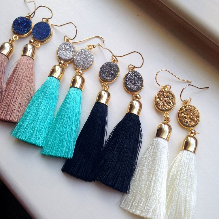 Jewelry Gift, Gold Tassel Earrings, Druzy Jewelry, Gold Druzy Earrings, Statement Earrings, Fringe Earrings Wanderlust Jewelry 30th birthday
