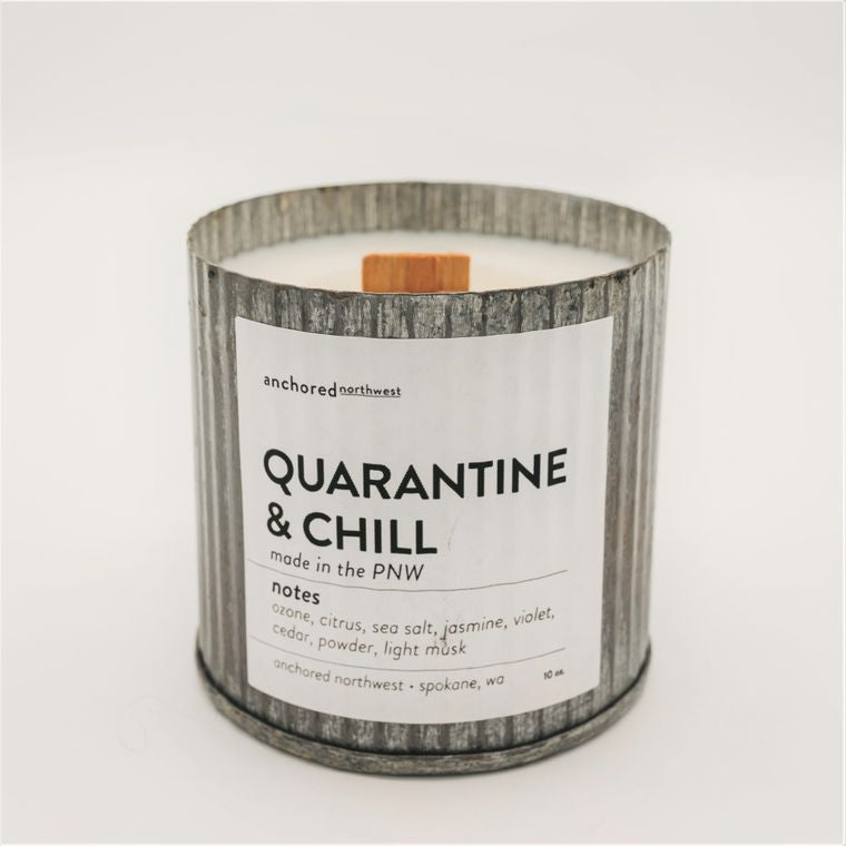 Quarantine & Chill - Rustic Vintage Wood Wick Candle