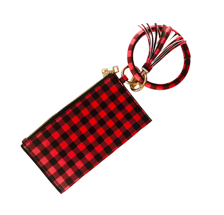 Red Buffalo Plaid Keychain Bangle and Clutch