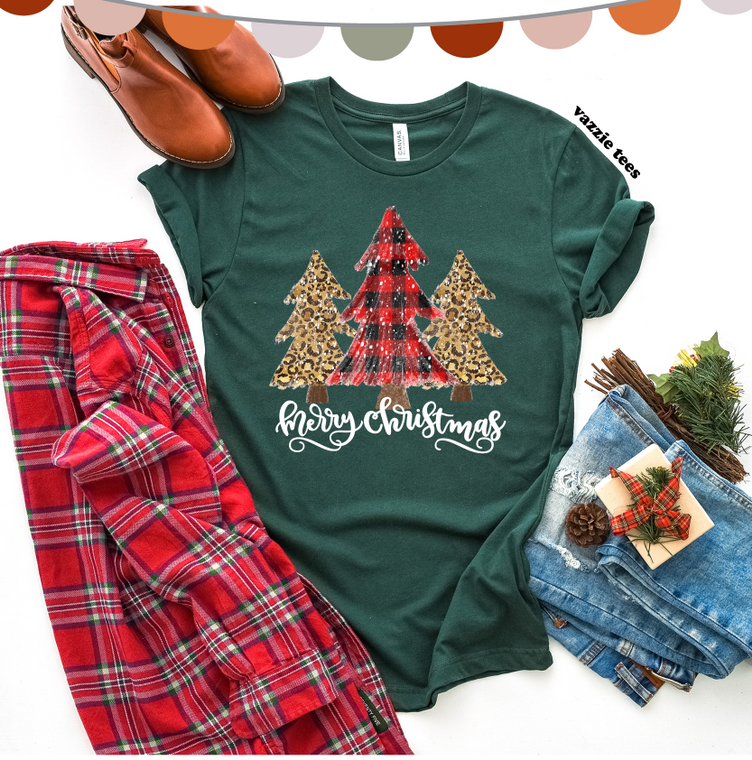 Merry Christmas Plaid Leopard Tree (Green)