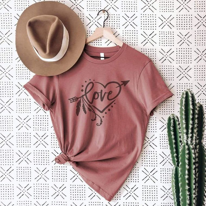Love Arrow with Feathers Graphic T-Shirt