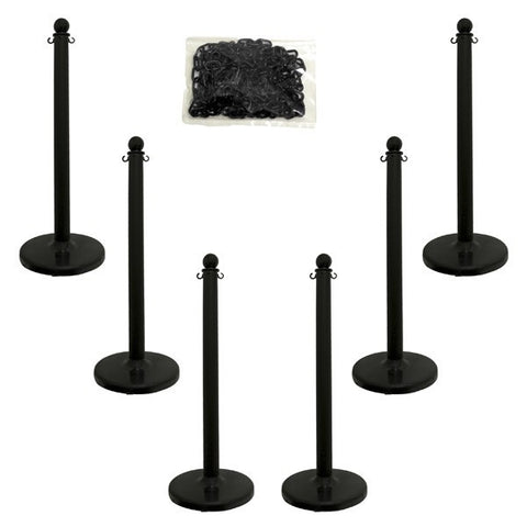 "2.5"" Pole Plastic Stanchion Kit (40"" Height) - 6 Stanchions"