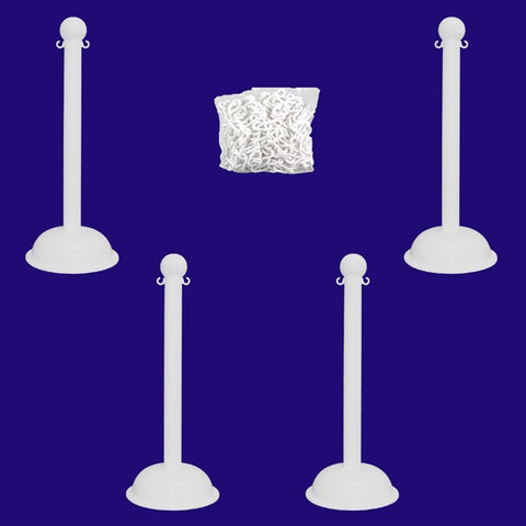 "3"" Pole Plastic Stanchion Kit (41"" Height) - 4 Stanchions"