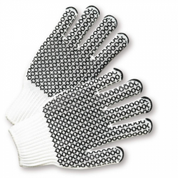 Black Honeycomb Grip String Knit Gloves